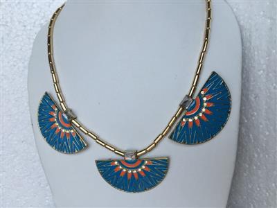 Bohemian style 3 blue turqoise shaped necklace
