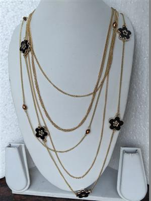 Multi chain with black flowers very elegant and stylish