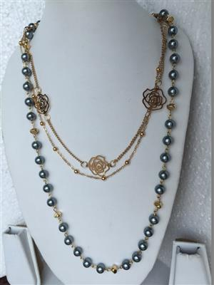 Multi Chain with golden flowers and blue shiney acryllic beaded necklace