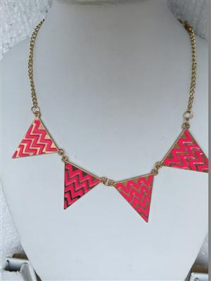 Traingular shaped designer pink colored necklace