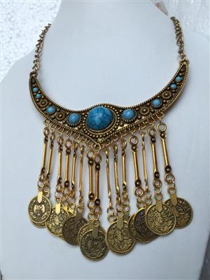 Bohemian Retro style chunky golden toned multi coined and blue turqoise vintage necklace