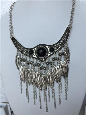 Bohemian Retro style chunky silver toned black turqoise multi leaf vintage necklace
