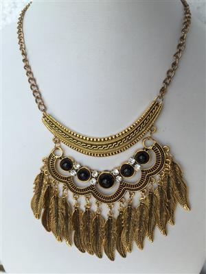 Bohemian Retro style set with chunky golden toned black turqoise multi leaf vintage necklace and earrings