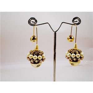 Perfect paper quilled with glossy  gold toned and pearls jhumka